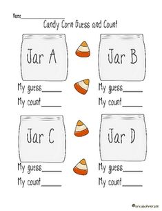 Here's a Halloween themed set of activities for estimating and counting with candy corn.