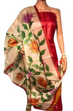 Shop more Bhagalpur Hand Painted Pure Tussar Silk Dupatta at Luxurionworld. Indian Designer Suits, Silk Dupatta, Indian Ethnic, Gold Jewellery, Women Empowerment, Floral Design, Kimono Top, Pastel, Hand Painted
