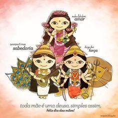 Lakshmi Durga S araswati Indian Illustration, Cute Illustration, Indian Gods, Indian Art, Maa Durga Image, Durga Maa, Durga Images, Krishna Images, Durga Painting