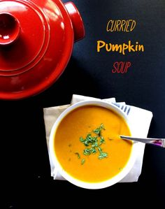 Curried Pumpkin Soup.This recipe is perfect for a cold fall evening! Rich, creamy, and easy to make! Gluten Free/vegan.