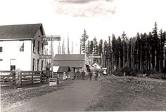 This photo, circa late 1870s, is the earliest known photo of Sandy. It's facing east, towards Mt. Hood, with the Revenue Hotel (tour site #6) in the foreground and the Revenue Store just past it. The last building is the Gerdes Store and Sandy Post Office (tour site #3). The Barlow Road is trailing off to the right in the background