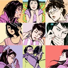 "Kate Bishop, Hawkeye. Love the upper right image. Inspo for ""Hawkeye vs. Hawkguy"" image?"