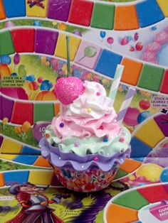 Fake Cupcake Creations is offering an original candy land fake cupcake photo prop. I made this cupcake in a standard size candy theme Christmas Cupcakes Decoration, Christmas Decorations For Kids, Birthday Party Decorations, Birthday Parties, 5th Birthday, Birthday Ideas, Christmas Ideas, Candy Land Christmas, Christmas Door