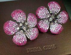 Beautifully feminine, this lovely pink sapphire flower earrings from #PrimaGems…