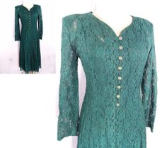 Lace Maxi Dress Sz M Sheer Green Vintage 80s All That Jazz Corset Tie Steampunk