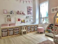 Our daughter's room – play area / office - kids playroom - Kinderzimmer Ikea Playroom, Ikea Kids Room, Playroom Storage, Playroom Design, Kids Room Design, Kids Bedroom, Ikea Storage, Ikea Kids Desk, Bedroom Ideas