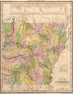 Arkansas State 1844 Historic Map by Tanner. A wide and growing selection of inexpensive reprints of rare Historic Maps are available from Hearthstone Legacy Publications at: http://www.hearthstonelegacy.com/Historic-Map-Reprints.htm