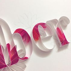 Pink flowers in letters
