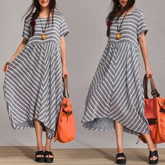 2014 Summer Stripe 100% Cotton Dress For Female Patchwork O-Neck Loose Waist With Pockets L XL $64.00