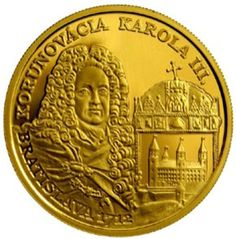 "The Bratislava Coronations Series Charles III €100 9.5 gm 2012 gold proof coin. The coin, struck by the Kremnica Mint, is the work of artist Karol Ličko and includes a detailed portrait of Charles III on the obverse along with the Hungarian royal crown and an early depiction of Bratislava Castle. In the upper part of the design is the text ""KORUNOVÁCIA KAROLA III"" (Coronation Of Charles III) and in the lower part the text ""BRATISLAVA"" and the coronation year ""1712""."