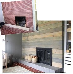 gray plank fireplace makeover.. to modern for me personally, but compared to the brick, I ADORE IT!