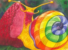 "I call this one ""Snail Nirvana"" what could be better than a nice plump, ripe, juicy strawberry? The colors of his shell are the colors of the seven chakras. I sold the original, however prints and cards are still available at http://catherine-g-mcelroy.artistwebsites.com"