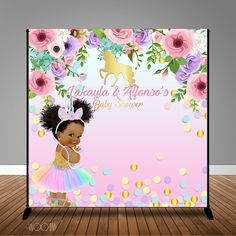 Girl Shower, Shower Baby, Baby Showers, Unicorn Princess, Afro Puff, Baby Shower Princess, Floral Baby Shower, Backdrops, Backdrop Ideas