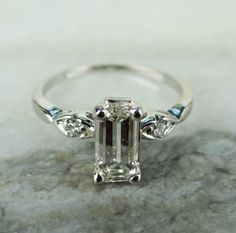 Delicate 18K White Gold 1940s Emerald Cut Diamond Engagement Ring - RGDI181P