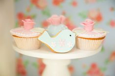 Cupcakes and blue bird cookie from Shabby Chic Little Bird Birthday Party at Kara's Party Ideas. See the many little details at karaspartyideas.com