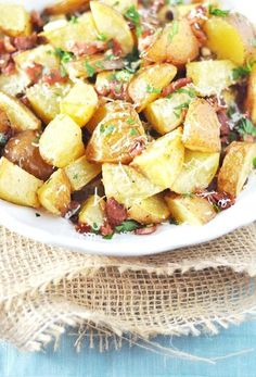 "Roasted Red Potatoes with Bacon, Garlic  Parmesan.  original pinner: ""Yummy. We did them as fries with cheese and sour cream""    - tried 7/12 Hubbs loved basic recipe,  but drools over the idea if the o.p w/ chees & sour cream"