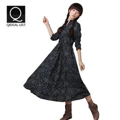Qideal-L 2016 New Fall Dresses Women Loose Maxi Long Dress Ethnic Cotton Linen Tropical Floral Print Casual Dress Vestidos