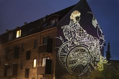 Visual artist Asbjørn Skou works mainly in drawing and site and time-specific installations in public spaces. One of his projects, entitled Markeringer, consisted of oversized light projections that temporarily overtook the walls of a Copenhagen neighborhood in 2010.