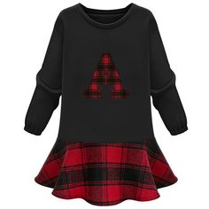 Choies Black Letter Mini Dress With Plaid Paneled ($36) ❤ liked on Polyvore featuring dresses, black, short plaid dress, tartan plaid dress, short dresses, mini dress and tartan dresses