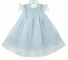 White Bishop Smocked Dress with Blue Ruffled Slip