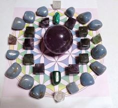 Upper Chakra Grid- Fluorite Sphere sends energy evenly throughout the grid. Fluorite Cubes &  Octahedrons - Increases psychic ability & focus and grounds the energy into the body Use our advanced search to find the crystals used here, on our site http://www.healingcrystals.com  Amethyst Cubes - Assists with spiritual growth  Malachite - Brings in transformational energy.  Angelite - Raises chakra vibrations  Clear Quartz Octahedrons - Raises frequency of all crystals  Use HCPIN10 for 10% off