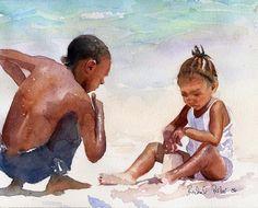 Black Child Children Boy Girl Beach art Print of by rachelsstudio - Sandcastle