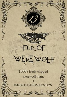 Halloween Potion Labels Fur of Werewolf Halloween Apothecary Labels, Halloween Potion Bottles, Halloween Labels, Halloween Crafts, Halloween Clothes, Apothecary Jars, Halloween Decorations, Free Halloween Printables, Halloween Fonts