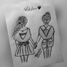 Best Friend Sketches, Friends Sketch, Best Friend Drawings, Girly Drawings, Art Drawings Sketches Simple, Pencil Art Drawings, Dibujos Tumblr A Color, Dancing Drawings, Google Search