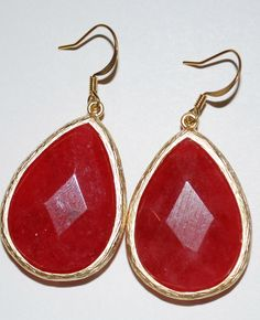 Cinnamon Stone Gold Trim Drops! Only $38...seen at boutiques for 95!!! LOVE Sophia Stone Single Drop Red