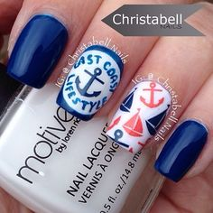 Nautical nail art from @christabellnails! She used Nailed Kit's nail art decals to create the look. Easy way to get the latest nail art trends. Easy nail art, nail art ideas, diy nail art.