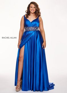 Style 6681 from Rachel Allan Curves is a sweetheart neck sleeveless stretch satin plus size prom dress with leg slit and embellished waistband.