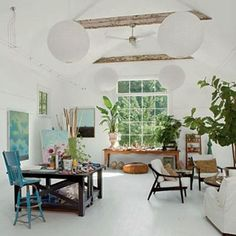 Beautiful And Inspiring Home Art Studio Ideas Love The All White Walls Ceiling Dark Furniture Beams Plants Huge Window
