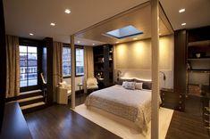 Comfortable Sensation: Cozy Master Bedroom Design With Modern Canopy Master Suite, Master Bedroom Design, Home Bedroom, Bedrooms, Bedroom Decor, Bedroom Suites, Modern Canopy Bed, Bed Stairs, Architecture Design