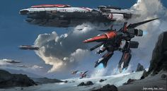 Sci-fi concept space ship dropping off a smaller craft that looks like a Varitech fighter from Robotech