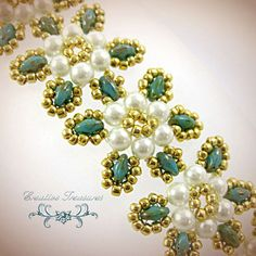 Turquoise Super Duo Flower Bracelet by CreativeTreasuresUK on Etsy