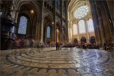 """Another view of the labyrinth with ghosts. 3 shots processed with Machinery HDR and GIMP. I deliberately left the """"ghosts"""", resulted from the 3 exposures and from the long exposure Labyrinths, Guinness World, Barcelona Cathedral, Abandoned, Gothic, Sacred Art, Fine Art, Cathedrals, Castles"""