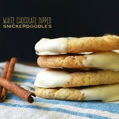 White Chocolate Dipped Snickerdoodles | by Life Tastes good are sweet cinnamon sugar cookies dipped in the smooth, creamy goodness of white chocolate! #VanillaWeek