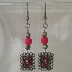 @KyDanJenjewelry Pink dangle earrings. Don't have pierced ears? No problem! Will convert to clip-ons FOR FREE! from KyDanJenjewelry for $8.00 on Square Market