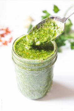 Flavorful chimichurri sauce fresh cilantro parsley mixture that's delicious on meat fish and veggies. Paleo GF LC and vegan! Paleo Sauces, Real Food Recipes, Vegetarian Recipes, Cooking Recipes, Vegan Vegetarian, Healthy Recipes, Sin Gluten, Vegan Gluten Free, Dairy Free