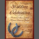 """These wedding invitation have two intertwined horseshoes in the bottom corner. The """"Wedding Celebration"""" text is part of the background design. Contact me if you need alternate wording. These are great for country western weddings and barn weddings. rustic wedding invitations, country wedding invitations, horseshoe wedding invitations, horseshoes, country western wedding invitations, double horseshoes, intertwined horseshoes, cowboy weddings, barn wood wedding invitations,..."""