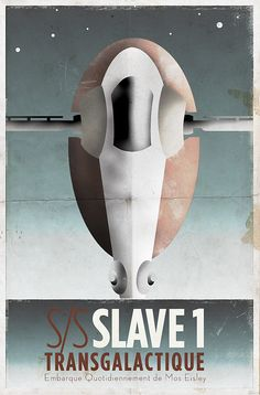 Slave 1 - French Deco Star Wars Travel Poster