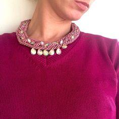 http://ift.tt/1PvHnxT #rode #mistyrose #abcrystals #rainbow #short #necklace #new #neckless  #handmade #handcraft #handmadejewelry #pink #ropenecklace #rope #braided #braid #rhinestones