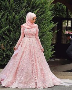 Hijaby Fashion Wear | Beautiful Pink Embroided Ball Gown Dress | Special Occasion Look