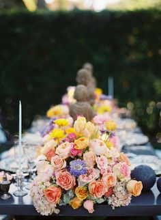Gorgeous ranunculus, roses and hydrangeas centerpieces | Photography by Linda Chaja Photography, Event Planning by Alegria by Design, Floral Design by LouLoudi Design