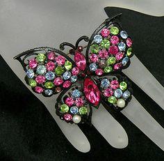 Vintage Pink Green Blue Rhinestone Black Enameled Metal Butterfly Brooch | eBay