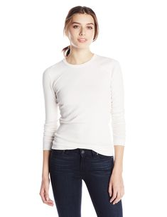 Three Dots Women's Long Sleeved Crew Tee, Gardenia, XS