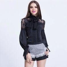 New Fashion Spring Summer Women Ruffled Bow Collar Long Sleeve Blouse Shirts Lace Patchwork Black Shirts Tops alishoppbrasil