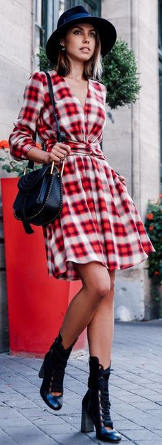 Red Plaid Dress Fall Inspo by Vivaluxury