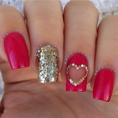 Red & Gold Heart Nail Art Design