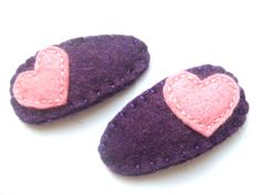 Baby hair clips -  HEART - hand embroidered with wool felt - purple and pink